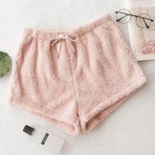 Drawstring Waist Flannel Lounge Shorts