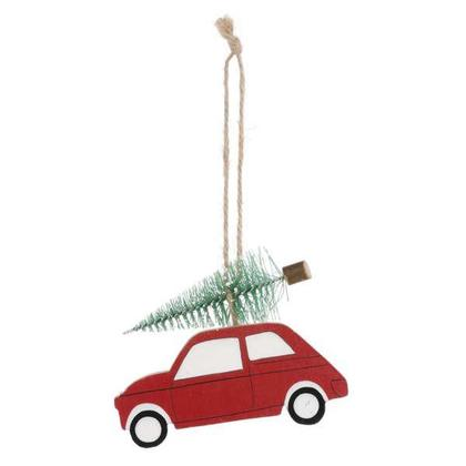 Red Car with Christmas Tree Ornament, 4