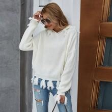 Pullover mit Fransen, sehr tief angesetzter Schulterpartie und Kapuze