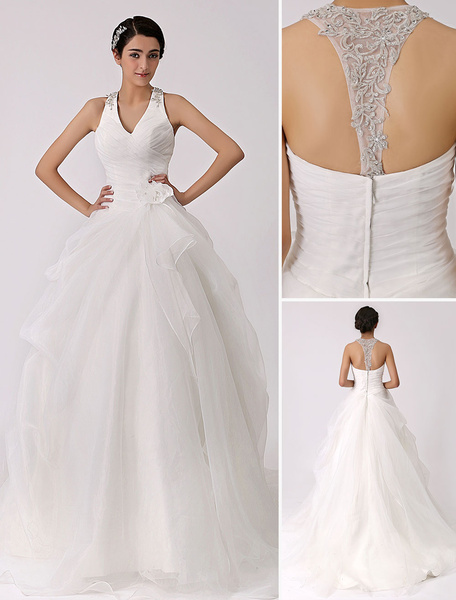 Milanoo Ivory Halter V-neck Wedding Dress with Cut-out Back
