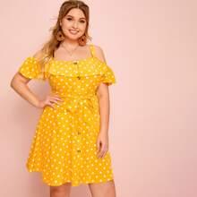 Grosse Grossen - Schulterfreies Kleid mit Punkten Muster und Knopfen vorn