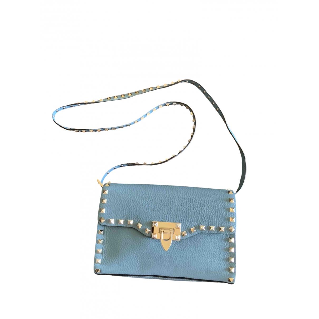 Valentino Garavani - Sac a main Rockstud pour femme en cuir - bleu
