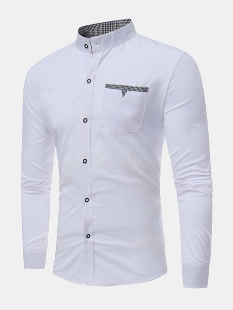 Casual Stylish Chest Pockets Slim Stand Collar Designer Shirts for Men