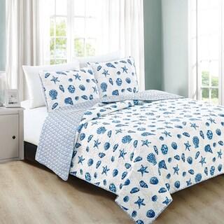 Home Fashion Designs Bali Collection 3-Piece Blue Coastal Theme Quilt Set (Twin - 2 Piece)