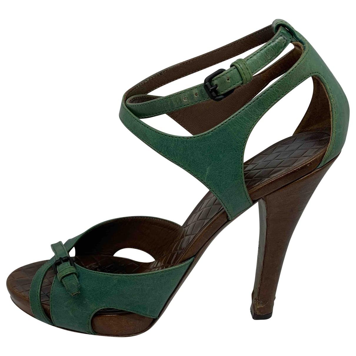 Bottega Veneta \N Green Leather Sandals for Women 38 EU