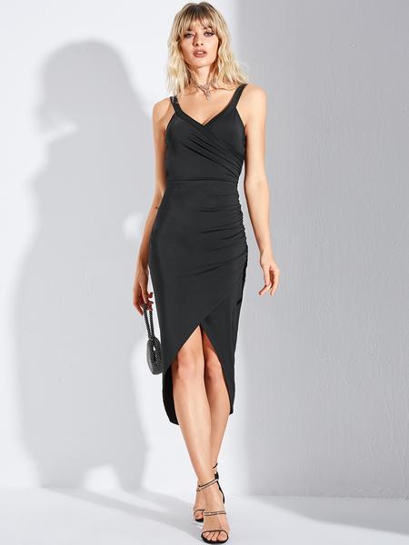 YOINS Black Wrap Split Design Spaghetti Strap Dress