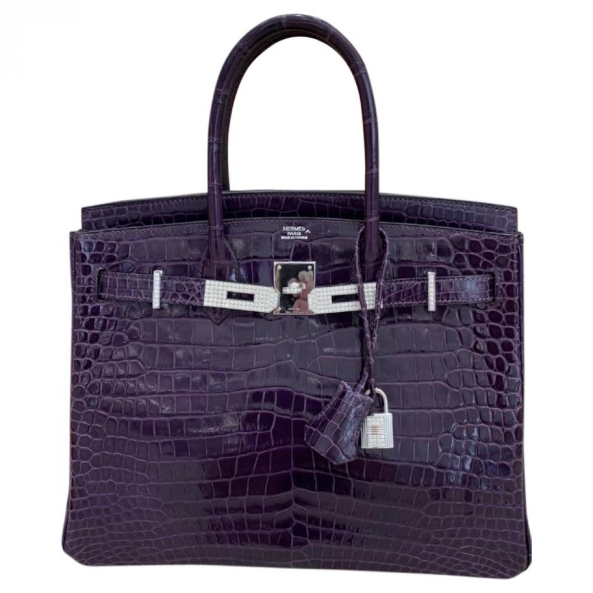 Hermes Birkin 30 Handtasche in  Lila Krokodil
