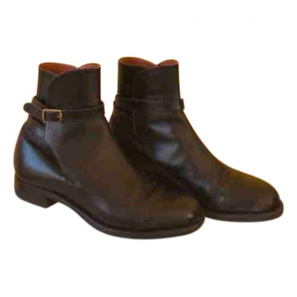 Jm Weston - Boots   pour femme en cuir - noir