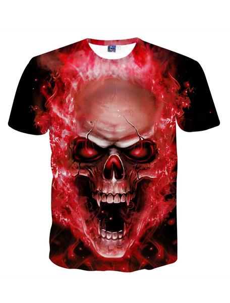 Milanoo Red Men T Shirt Plus Size Skull Print Plus Size Halloween Short Sleeve T Shirt Punk