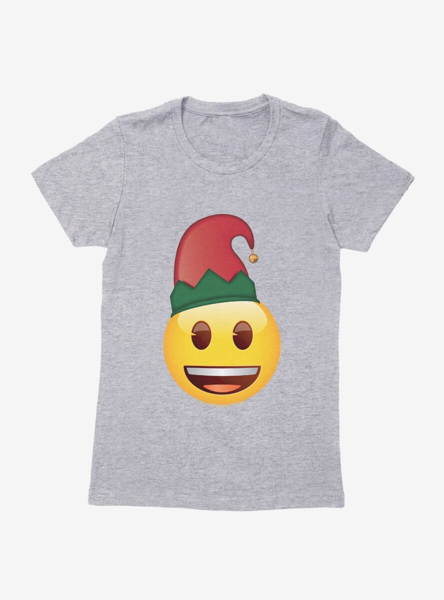 Emoji Holiday Icons Happy Face Elf Hat Womens T-Shirt