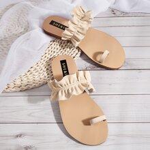 Toe Loop Ruffle Decor Slide Sandals