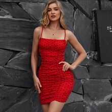 Eilly Bazar Figurbetontes Kleid mit Ruesche und Punkten Muster