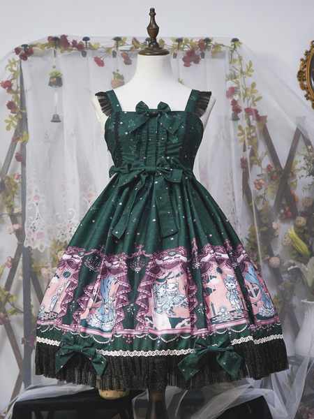 Milanoo Classic Lolita JSK Dress Neverland Opera Cat Print Ruffle Bow Lolita Jumper Skirt