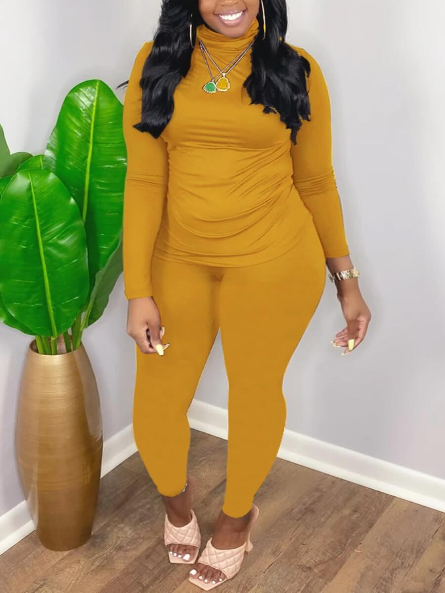 LW Lovely Casual Turtleneck Long Sleeve Yellow Two Piece Pants Set(Without Necklace