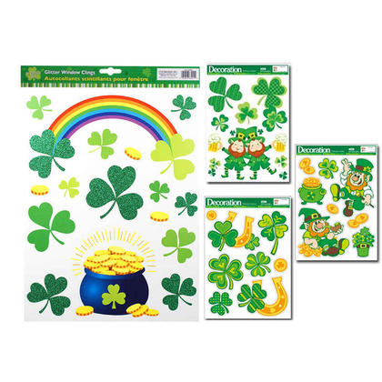 St.Patrick Shamrock Glitter Window Clings 16