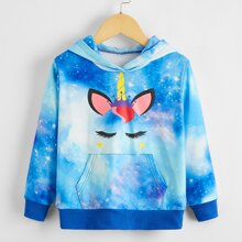 Toddler Girls Galaxy And Unicorn Print Hoodie