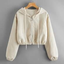 Corduroy Zip Up Hooded Jacket