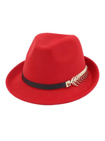Milanoo Wool Bowler Hat Metal Detail Leaf Men Fedora Hat