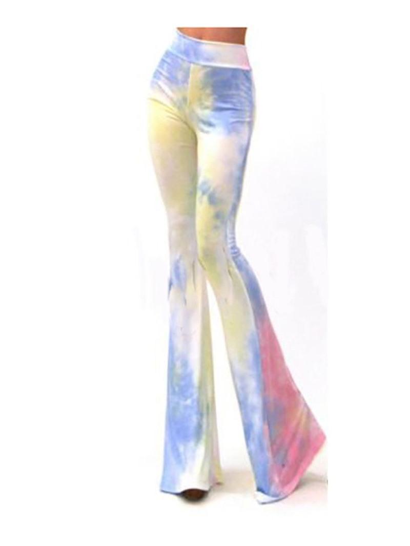 Ericdress Slim Color Block Tie-Dye Casual Flare Pants