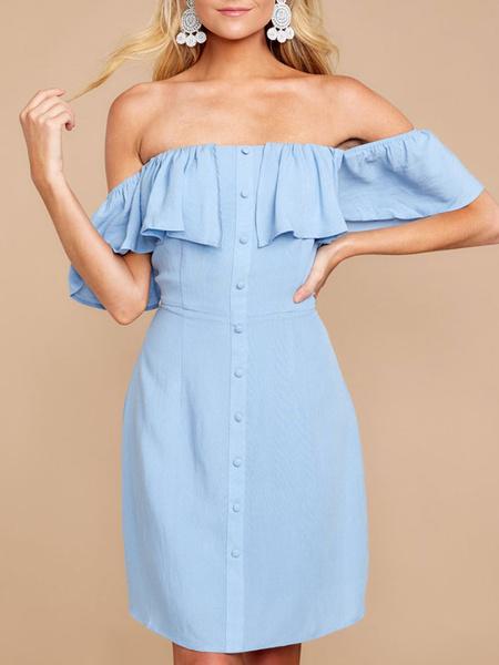 Milanoo Blue Summer Dresses Ruffles off the Shoulder Buttons Up Sundress For Women Midi Dress