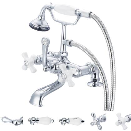 F6-0007-01-PX Water Creation F6-0007-01 Vintage Classic 7 Spread Deck Mount Tub Faucet With 2 Risers & Handheld