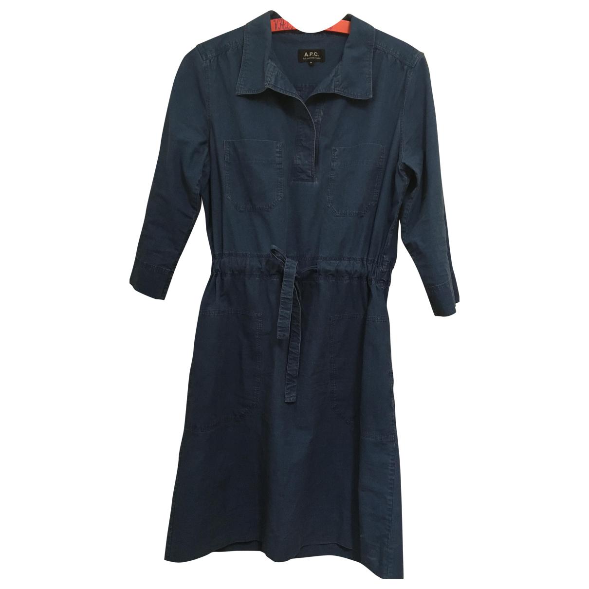 Apc \N Kleid in  Blau Baumwolle