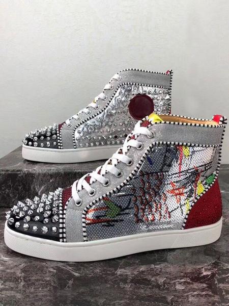 Milanoo Zapatillas Spike para hombre 2020 Zapatillas Piel de vaca plateada Punta redonda Punta con cordones En variedad Colorblock High top Zapatos de