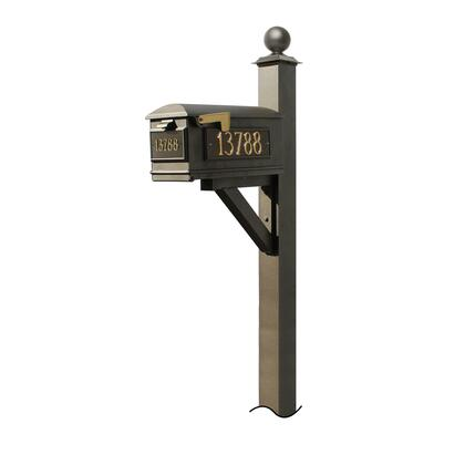WPD-NB-S4-LM-3P-BRZ Westhaven System with Lewiston Mailbox  (3 Cast Plates) (No Base) Large Ball Finial in