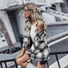Plaid Flap Pocket Button Up Overcoat