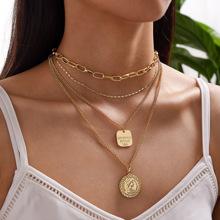 1 Stueck mehrschichtige Halskette mit Muenze Dekor