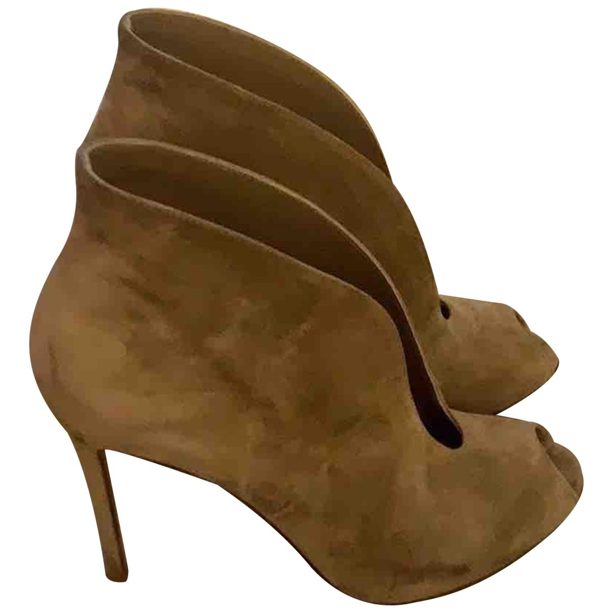Gianvito Rossi - Boots   pour femme en suede - beige