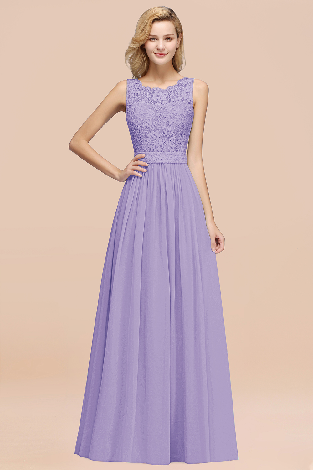 BMbridal Elegant Chiffon Lace Scalloped Sleeveless Ruffle Bridesmaid Dresses
