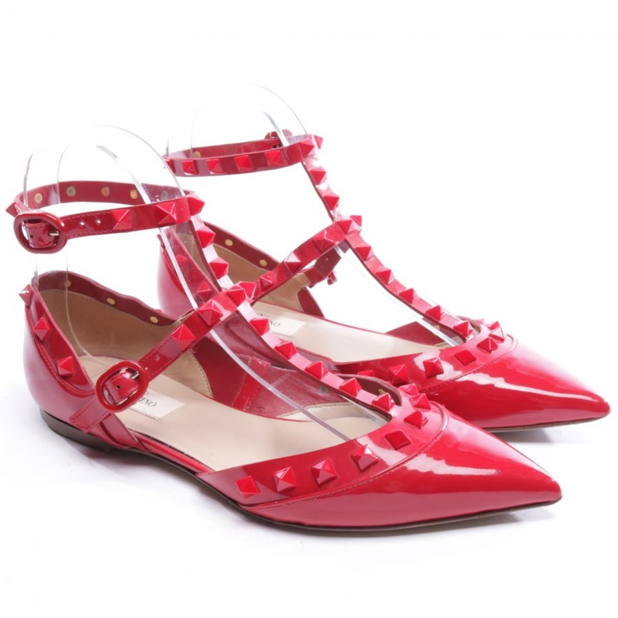 Valentino Garavani \N Red Patent leather Ballet flats for Women 36 EU