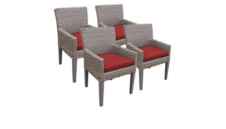 Monterey Collection MONTEREY-TKC297b-DC-2x-C-TERRACOTTA 4 Dining Chairs With Arms - Beige and Terracotta