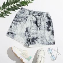 Shorts mit Kordelzug auf Taille und Batik