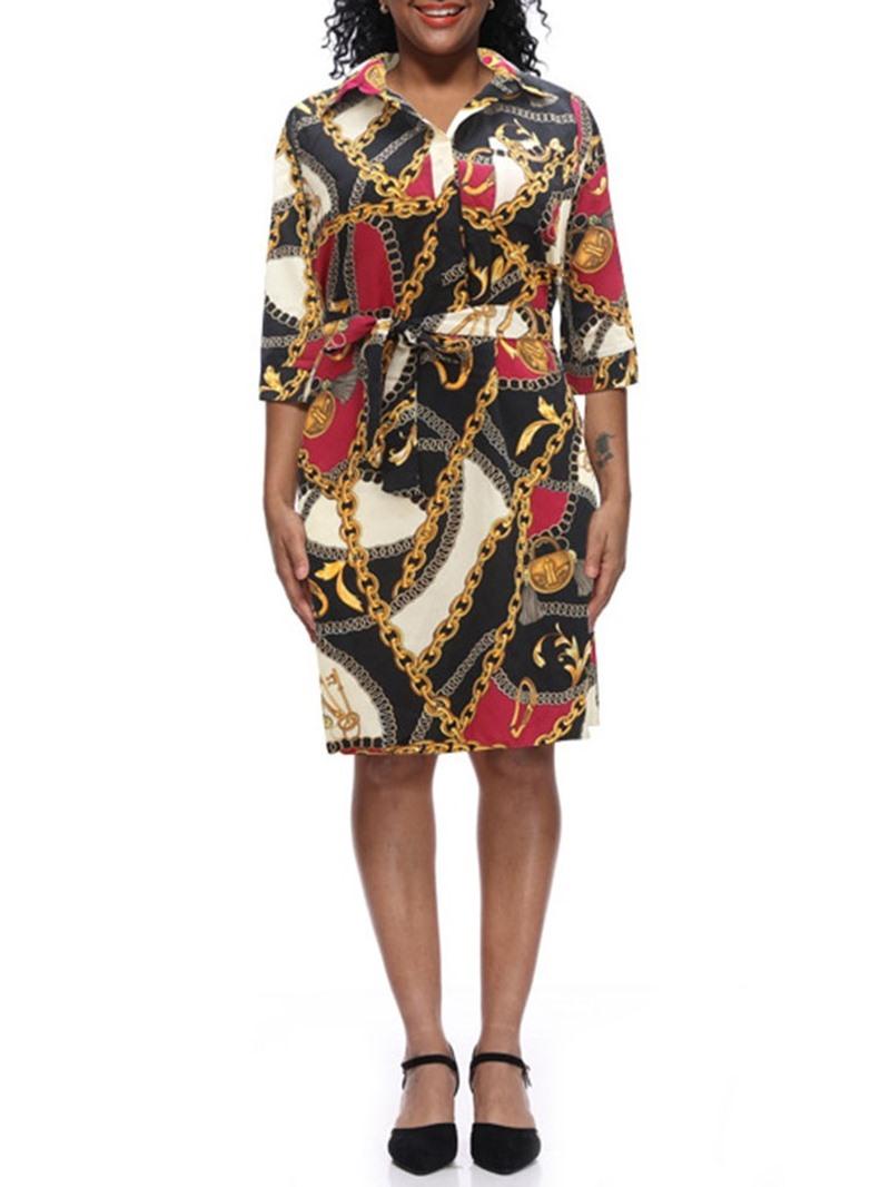 Ericdress Pocket Print Lapel Mid Waist Regular Casual Dress