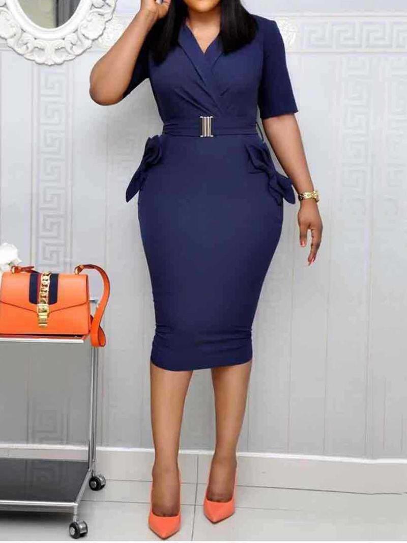 Ericdress Short Sleeve Mid-Calf Belt Mid Waist Bodycon Dress