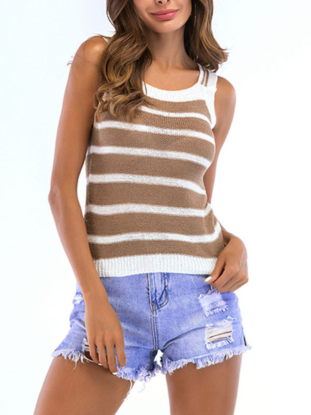 Milanoo Deep Apricot Cami Top Straps Neck Acrylic Casual Stripes Camis para mujer