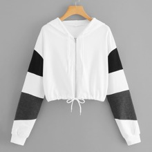 Color-block Zip-Up Hoodie