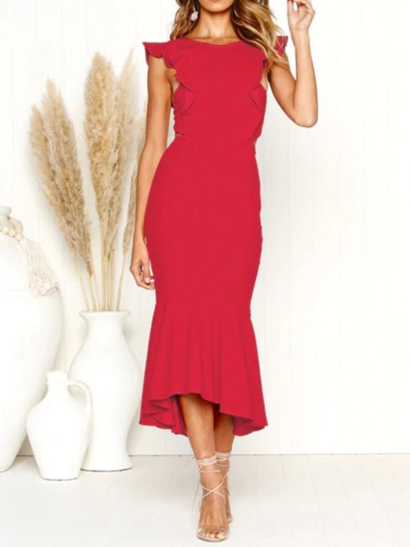 Ericdress Mid-Calf Cap Sleeve Round Mermaid Plain Dress