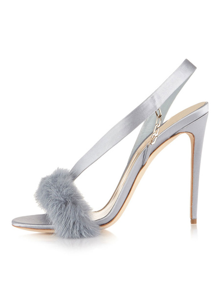 Milanoo High Heel Sandals Womens Satin Furry Open Toe Slingback Stiletto Heel Sandals