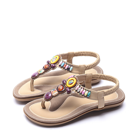 Yoins Boho style Jewelled Design Sandals in Apricot