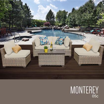 MONTEREY-05c-BEIGE Monterey 5 Piece Outdoor Wicker Patio Furniture Set 05c with 2 Covers: Beige and
