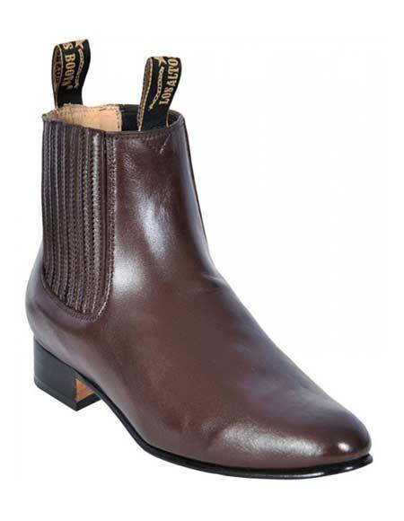 Los Altos Men's Brown Deer Charro Leather Sole Handmade Short Boots
