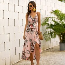 Floral Print Criss Cross Backless Belted Dress