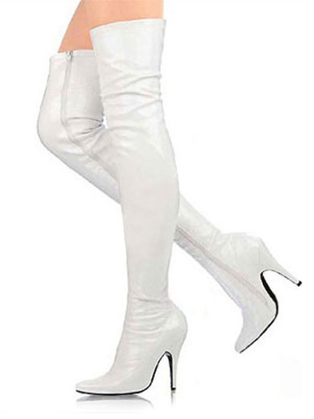 Milanoo 3 3/5\'\' High Heel White Patent Thigh High Sexy Boots
