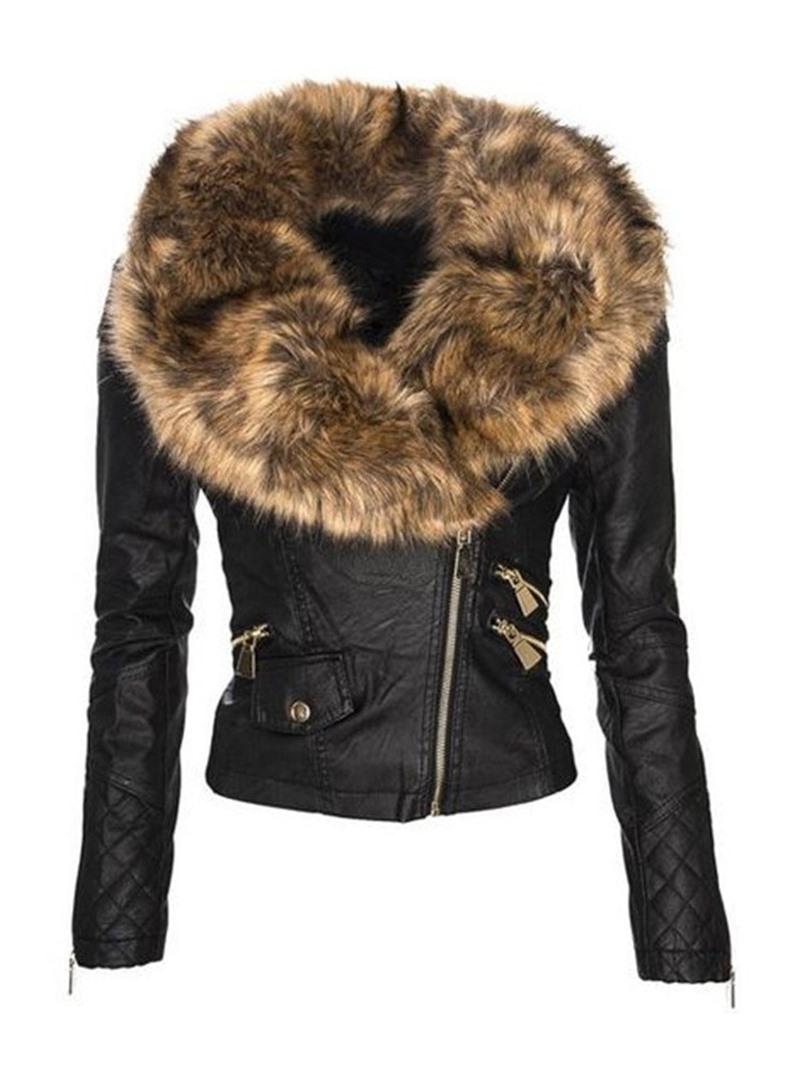 Ericdress Zipper Standard Women's PU Jacket