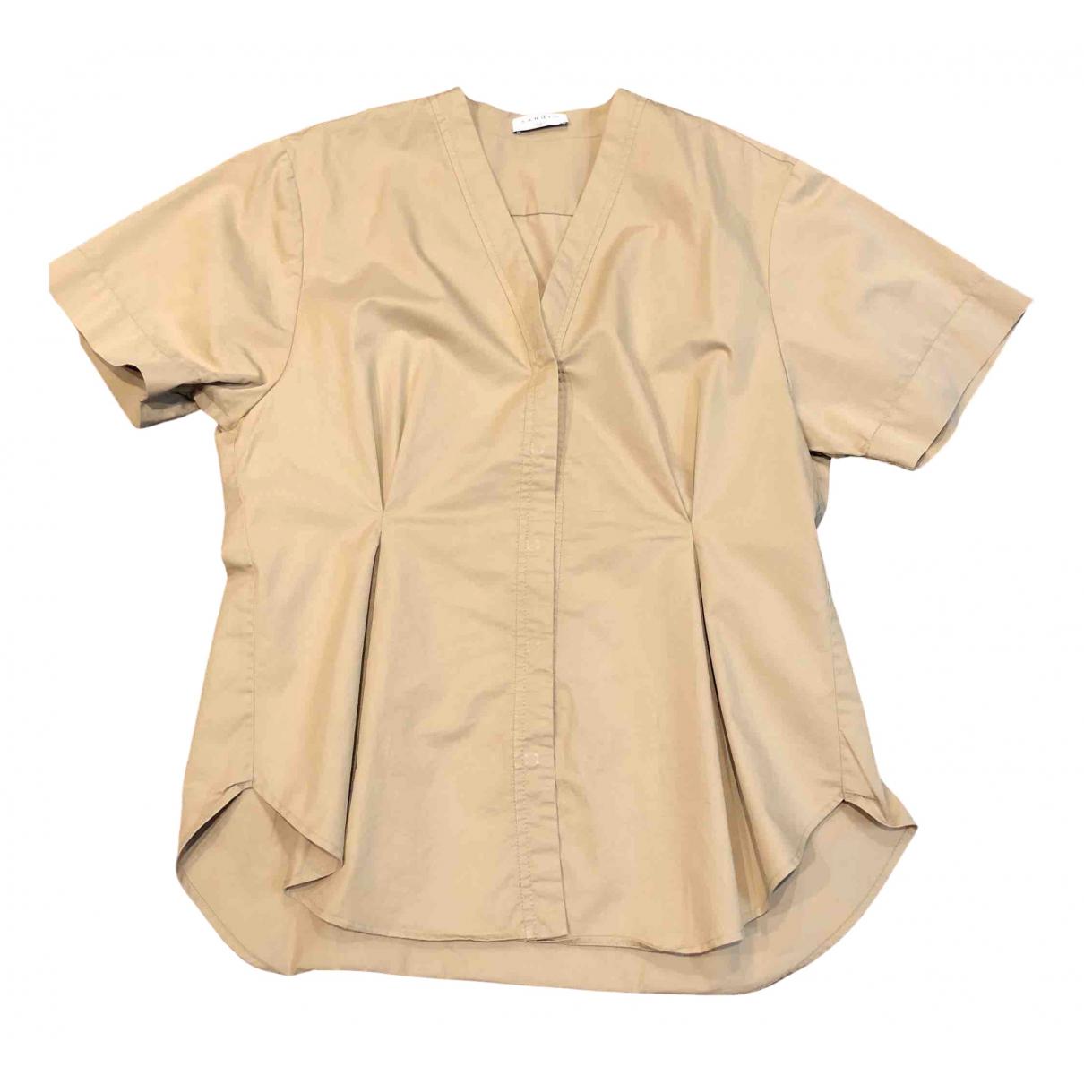 Sandro - Top   pour femme en coton - beige