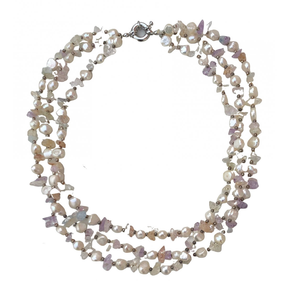 Non Signe / Unsigned Amethyste Kette in Perle