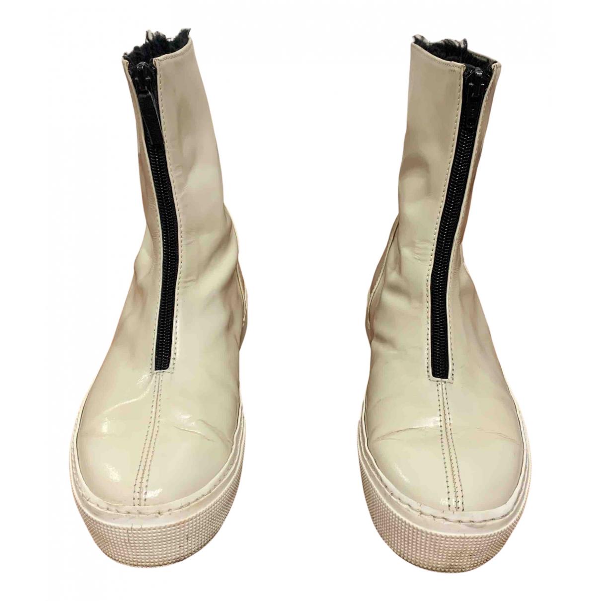 Gianfranco Ferre - Boots   pour femme en cuir - blanc